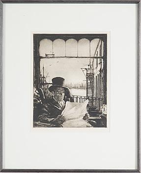 AXEL FRIDELL, torrnål (V état av V), 1933, blindstämpel Axel Fridell.