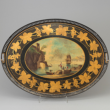 EMPIRE, A TRAY, painted plate, empire, first half of the 19th century.