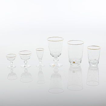 a glass set of table ware of 68 pcs, from Kosa, mid 20th century.