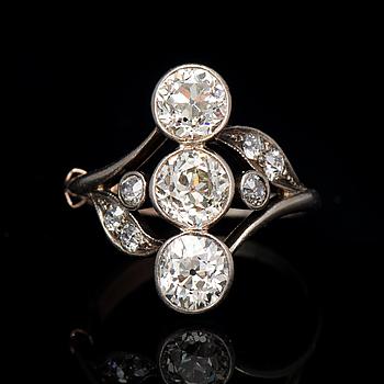 RING, gammalslipade diamanter, silver.