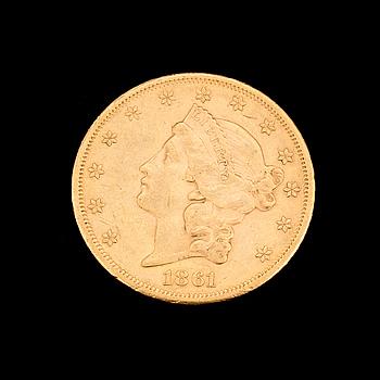 GULDMYNT, USA, 20 dollar 1861. Vikt ca 34 gram.