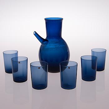 TIMO SARPANEVA, ISVATTENKANNA OCH DRICKSGLAS, 6 st, glas, Iittala.