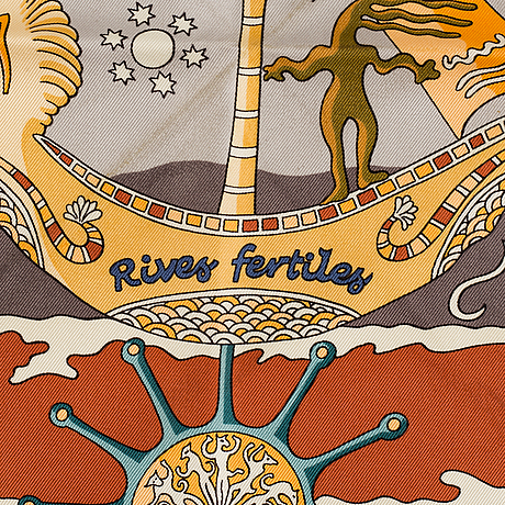 "Scarf, ""rives fertiles"", hermès."