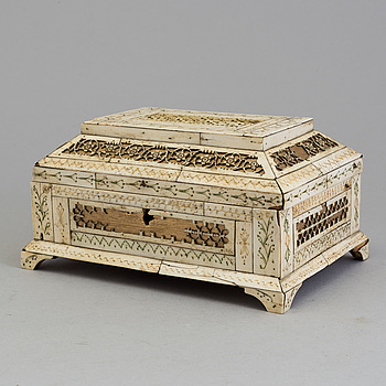 A RUSSIAN BONE BOX, mid 19th century,