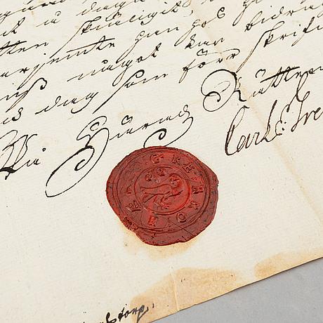 Handskrifter, 3 st handlingar, 1600-1700-tal.