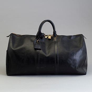"""LOUIS VUITTON, weekendbag """"Keepall 55 Epi black""""."""