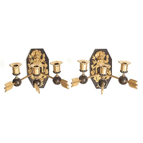 A pair of empire three-light wall-lights, early 19th century stockholm or st petersburg.