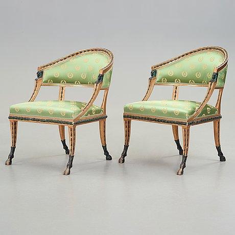 Karmstolar , ett par, sengustavianska stockholmsarbeten, 1800-talets början.
