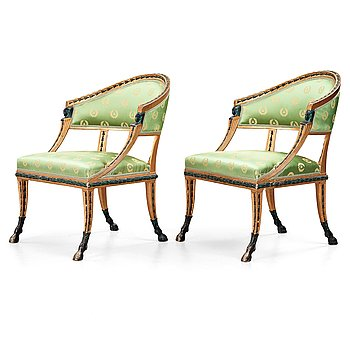 42. A pair of late Gustavian early 19th century armchairs.