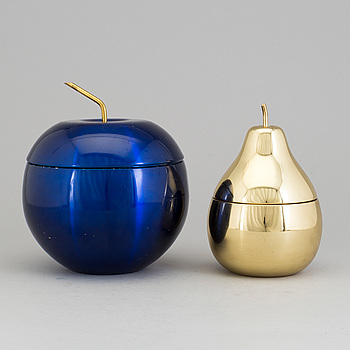 Two fruit-shaped metal ice buckets, second half of the 20th Century.