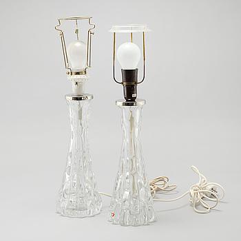 CARL FAGERLUND, bordslampor, ett par, Orrefors, 1900-talets tredje kvartal.