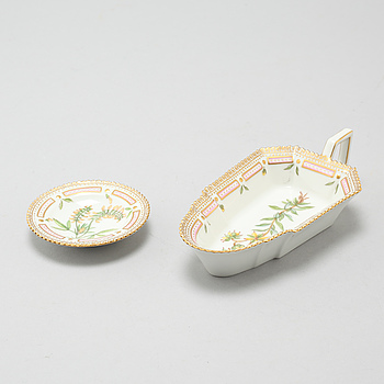 """A porcelain jelly dish and as tray, """"Flora Danica"""" by Royal Copenhagen, second half of the 20th century."""