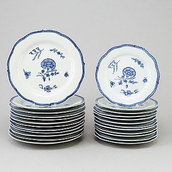 "IKEA, A set of 12+12 porcelain plates ""Nejlika"", IKEA copy of 18th century pattern Chinese Blue and White export porcelain."