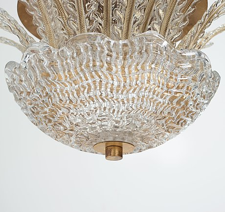 Orrefors, a swedish modern glass and brass chandelier, 1930-40's.