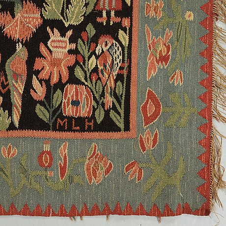 A bedcover/a tapestry, tapestry weave, ca 195,5 x 141,5 cm, scania, sweden, signed mlh 1927,