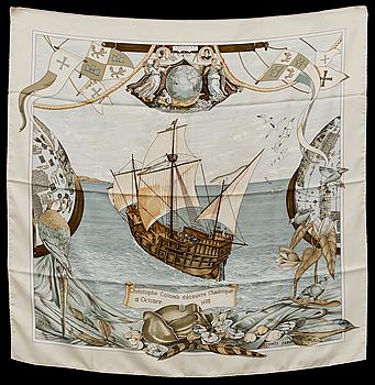 """HERMÈS, """"Christophe Colomb Découvre l'Amerique"""", scarf."""