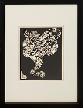 WASSILY KANDINSKY, WASSILY KANDINSKY, wood cut. Signed in the wood cut.