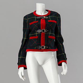 A checked jacket by Moschino.