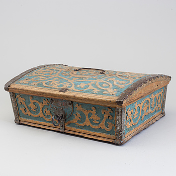 A SWEDISH WOODEN BOX, dated 1761.