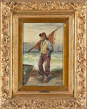 L. PERNETT, olja på pannå, signerad L. Pernett, 1800-talets slut.