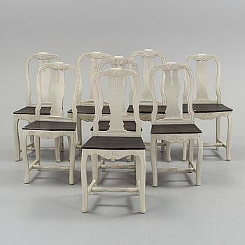 A set of eight similar swedish chairs, Järvsö, Hälsingland, first half of the 19th century.