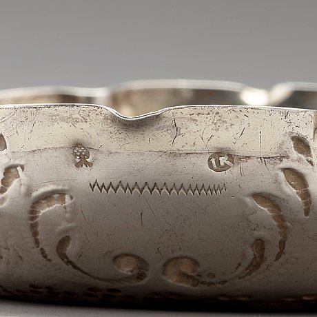 A german 17th centuryparcel-gilt silver sweet meat dish, mark of johannes kilian possibly, augsburg 1685-1687.