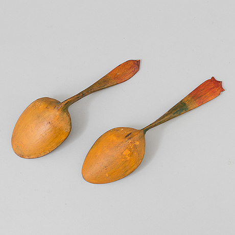 Two wooden spoons from the 19th century