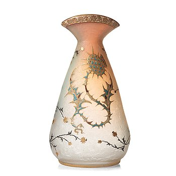 22. Daum, an opalescent etched and enamel painted glass vase, Nancy, France, 1890's.