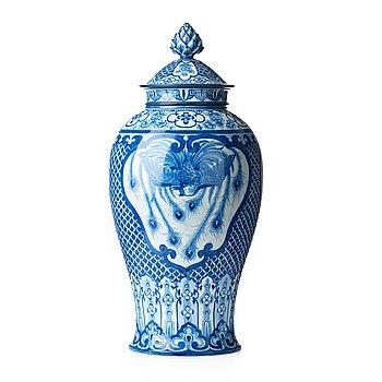 38. Gunnar Wennerberg, & PEDER MÖLLER, a creamware lidded jar, Gustafsberg, Sweden 1896.