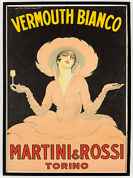 MARCELLO DUDOVICH, a lithographic Vermouth Bianco vintage poster, Torino, Italy, 1959.