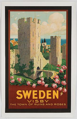 Ivar gull, lithographic poster, statens reproduktionsanstalt, stockholm, 1937