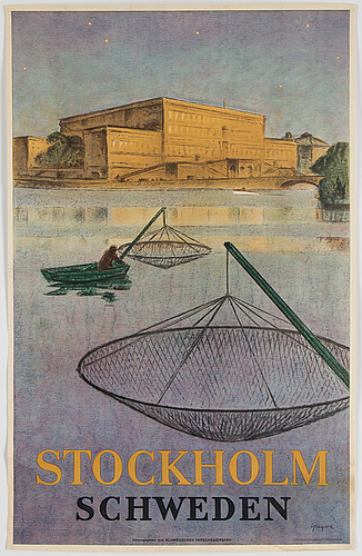 A lithographic poster, centraltryckeriet, stockholm, 1920.
