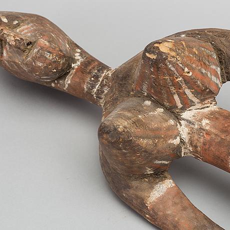 Head mask w standing female figure. burkina faso.