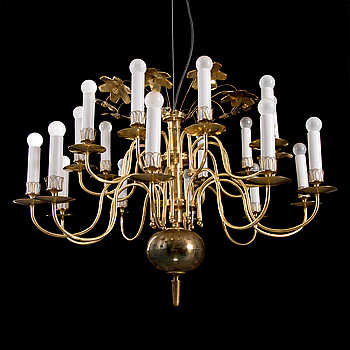 A TWENTY-LIGHT CHANDELIER. Manufactured for the old church in Lahti. Taito Oy. 1940s/50s.