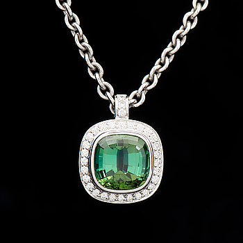 A PENDANT, facetted tourmaline, brilliant cut diamonds, 18K white gold. T. Tillander, Helsinki Finland 2002.