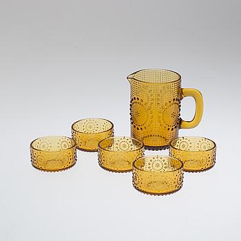 NANNY STILL, A 1960/70s jug and five glasses by Nanny Still, Riihimäen Lasi.