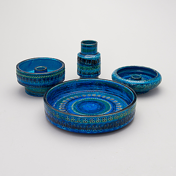 ALDO LONDI, A second half of the 20th Century Italian Bitossi ceramics vase, bowl and two candlesticks.