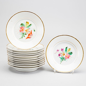 A set of 12 Waldenburg porcelain plates mid 1800's.