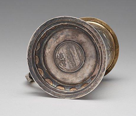 Andreas haidt, dryckeskanna, silver, danzig (verksam 1689-1699). barock.