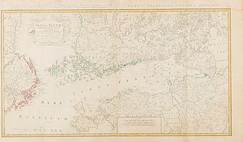 KARTA, handkolorerat kopparstick, Tobias Mayer, 1751.