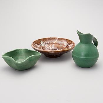 KANNA SAMT SKÅLAR 2 ST, keramik, Kupittaan Savi.
