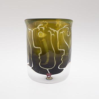 """INGEBORG LUNDIN, vas, ariel """"Ansikten"""", Orrefors Gallery, signerad, 1985."""