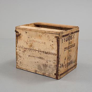 a wooden champagne box from the 20th century.