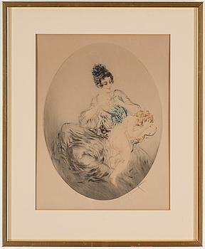 LOUIS ICART, färgetsning, Clipped Wings, signerad.