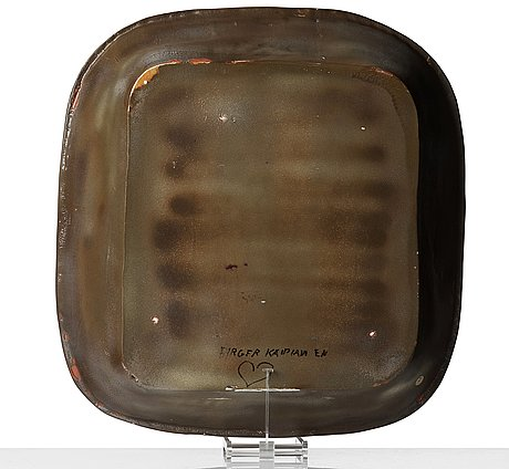 Birger kaipiainen, a glazed ceramic dish, arabia, finland 1940's.