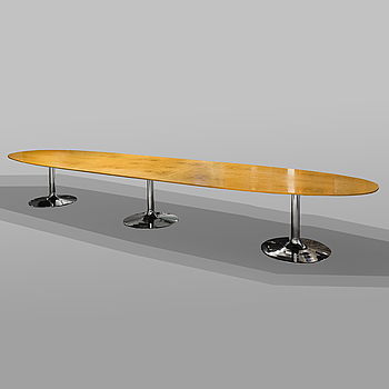 PIET HEIN, A large three sectioned conference table by Piet Hein and Bruno Mathsson, the top marked Bruno Mathsson International.