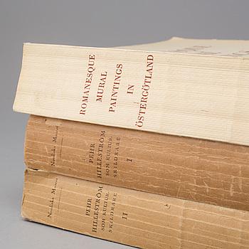 BÖCKER, tre volymer, Pehr Hilleström och Romanesque Mural Paintings, 1927 och 1956.