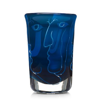 "6. Ingeborg Lundin, an ariel glass vase ""Faces"", Orrefors, Sweden 1971."