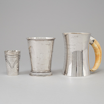 Three Swedish 201th century silver beakers, mark of K Andersson, Carlman and ARG, Stockholm 1903-1949.