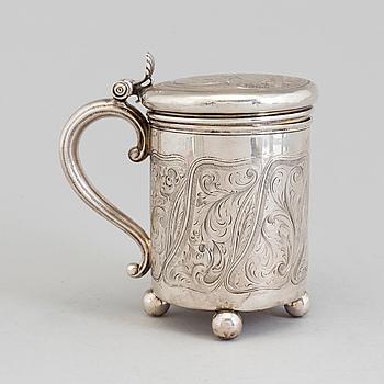 DRYCKESKANNA, silver, Nikols Karl och Plinke, 1855. Tot vikt: 470 gram.